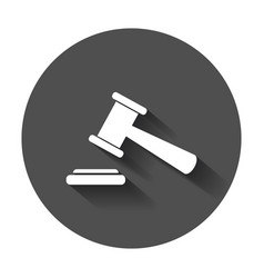 auction hammer icon court tribunal flat icon with vector image