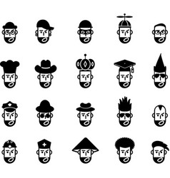 Avatar job role occupation glyph icons vector