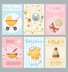 Baby shower cards boy girl birthday celebrate vector