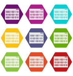 binary code icon set color hexahedron vector image