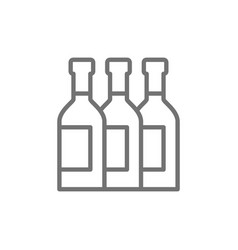 bottles wine alcohol champagne line icon vector image