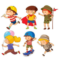 Boys and girls in different actions vector
