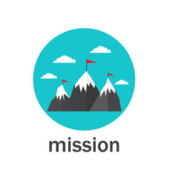 Business mission icon flat style vector