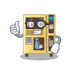 Businessman coffee vending machine with cartoon vector