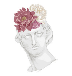 Bust apollo with flowers ancient god vector