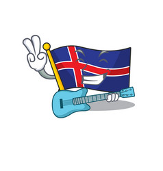 Character flag iceland mascot in with guitar vector