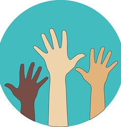 Circle flat icon hands raised up concept of vector