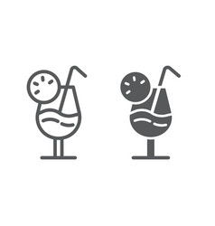 cocktail line and glyph icon alcohol and beverage vector image