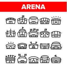 Collection arena buildings sign icons set vector