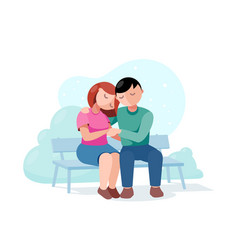 Couple in love on a date sitting on a park bench vector