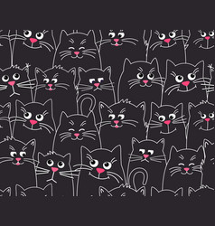cute cats black pattern background different vector image