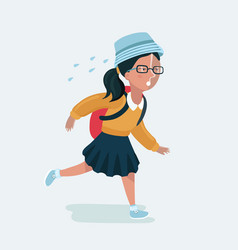 cute girl in uniform going to school vector image