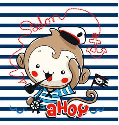 Cute monkey sailor cartoon vector