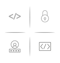 Cyber security simple linear icon setsimple vector