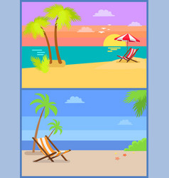 day and eve on tropical island summertime paradise vector image