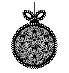 decorative white lace christmas ball toy on beige vector image
