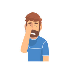 Disappointed bearded man covering his face vector
