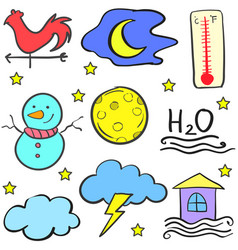 Doodle of weather set design vector