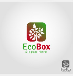 eco box - nature plant logo template vector image