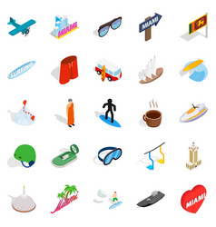 escapade icons set isometric style vector image