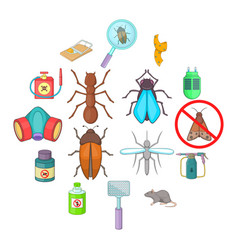 exterminator icons set cartoon style vector image