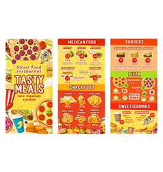 Fastfood street food restaurant cafe menu vector