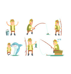 fisherman catching fish with fishing rod set vector image