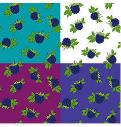 Four seamless pattern with blackberry vector