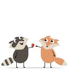 Fox and raccoon cartoon collection vector