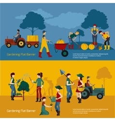 Gardening People Flat Set vector image