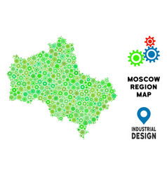 Gears moscow oblast map mosaic vector