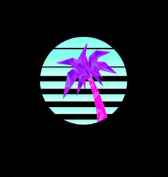 geometric pink-purple palm tree in retrowave vector image