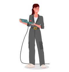 girl mechanic dressed in special uniform gray work vector image