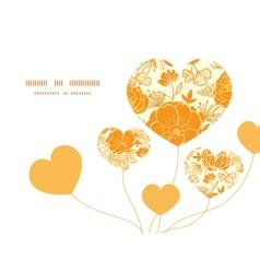 Golden art flowers heart symbol frame vector