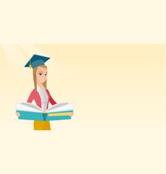 Graduate with book in hands vector