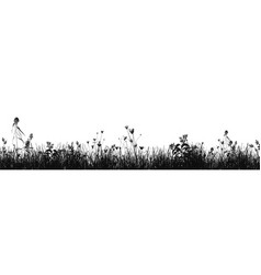 grass natural silhouette as background vector image