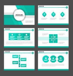 Green light presentation templates Infographic set vector