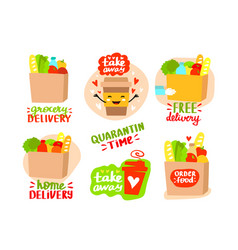 Grocery delivery concept set vector