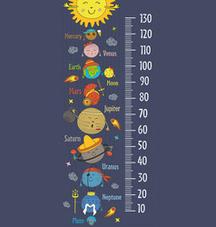 growth measure with cartoon funny solar system vector image