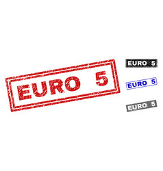 grunge euro 5 scratched rectangle stamps vector image