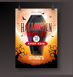 halloween sale with black coffin vector image