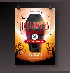 Halloween sale with black coffin vector
