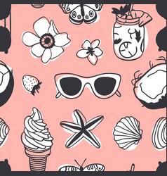 Hand drawn summer seamless pattern tropical vector