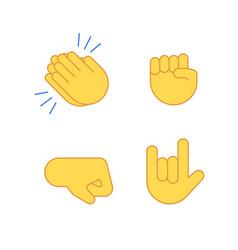 Hands emoji applause emoticon cartoon set vector