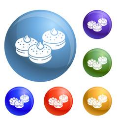 hanukkah bakery icons set vector image
