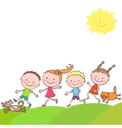 Happy boys and girls cat dog running on a road vector image