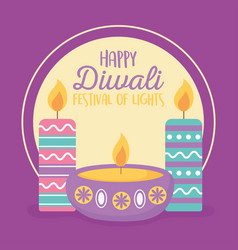 happy diwali festival diya lamps with candles vector image