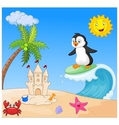 Happy penguin cartoon surfing vector