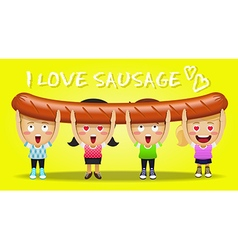 Happy people carrying big and long grilled sausage vector