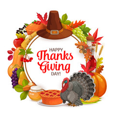 Happy thanks giving day cartoon round frame vector